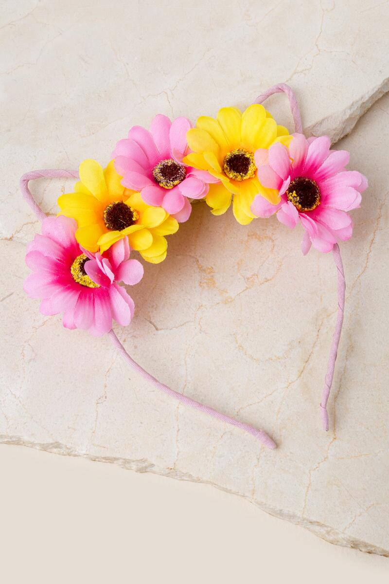 Daisy Cat Headband- Pink