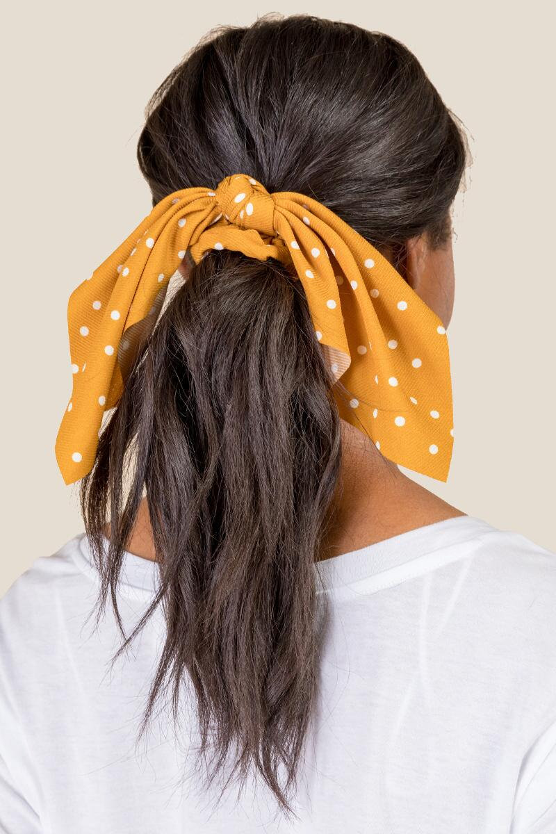 Jaslene Short Tail Pony Scarf in Mustard- Mustard model