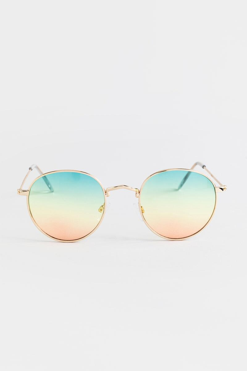 Eliza Ombre Lens Sunglasses in Gold- Gold 3