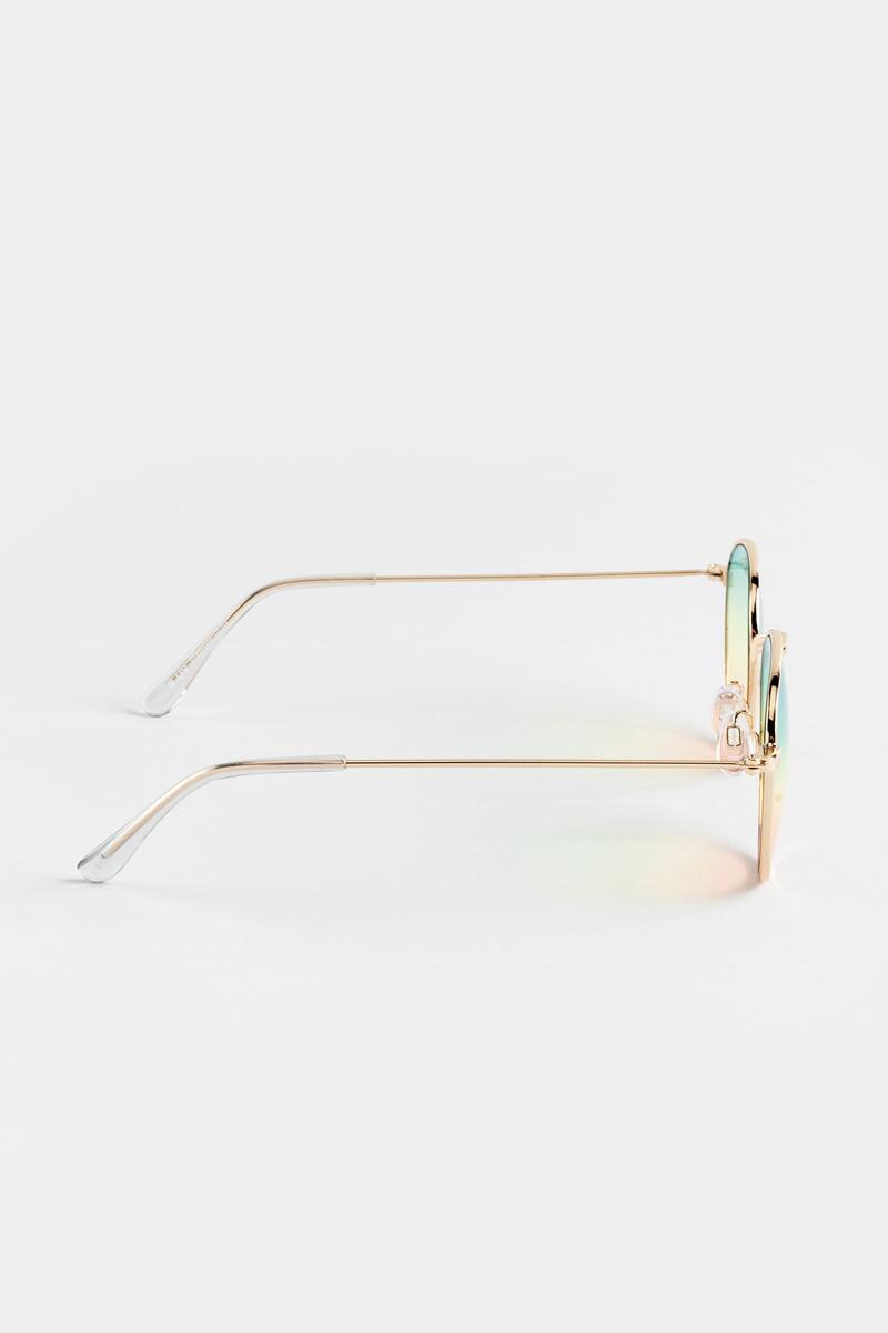 Eliza Ombre Lens Sunglasses in Gold- Gold 4