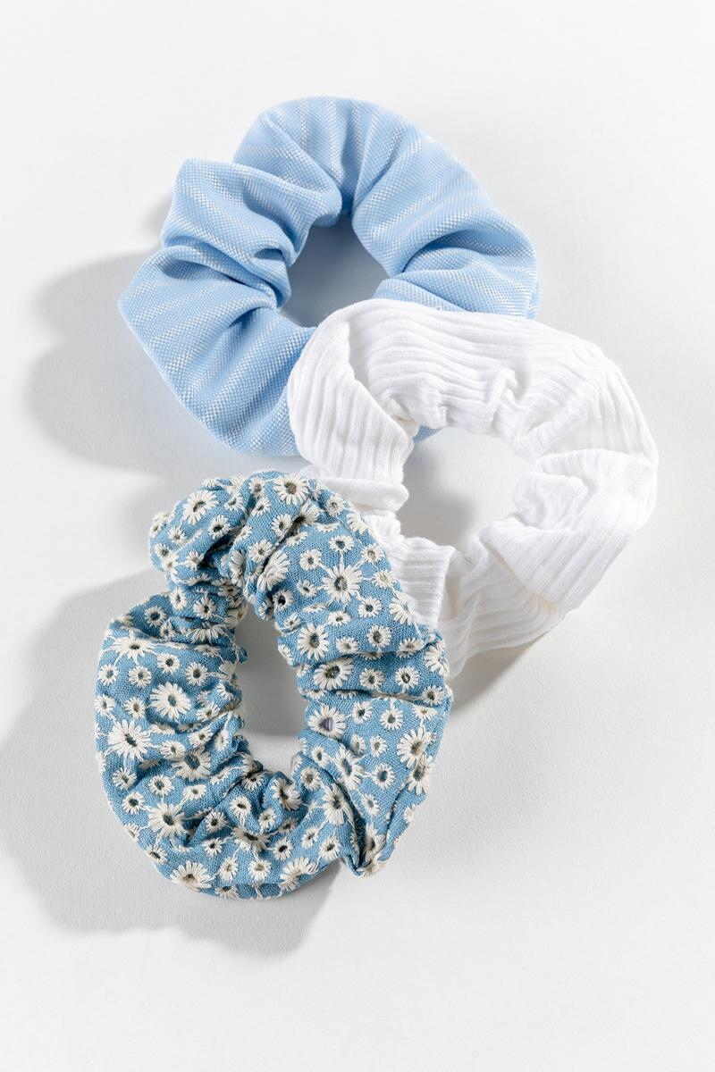 Daisy Denim Scrunchies-  chbr-cl