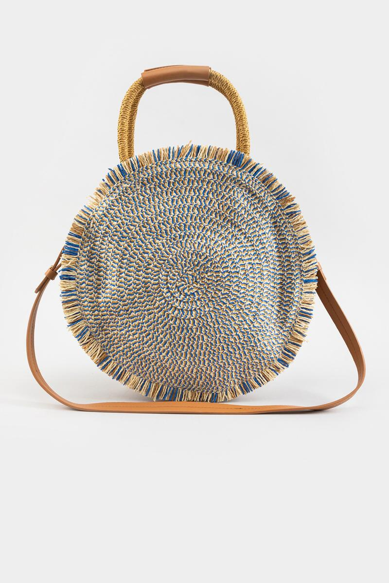 River Frayed Edge Straw Circular Tote-Blue