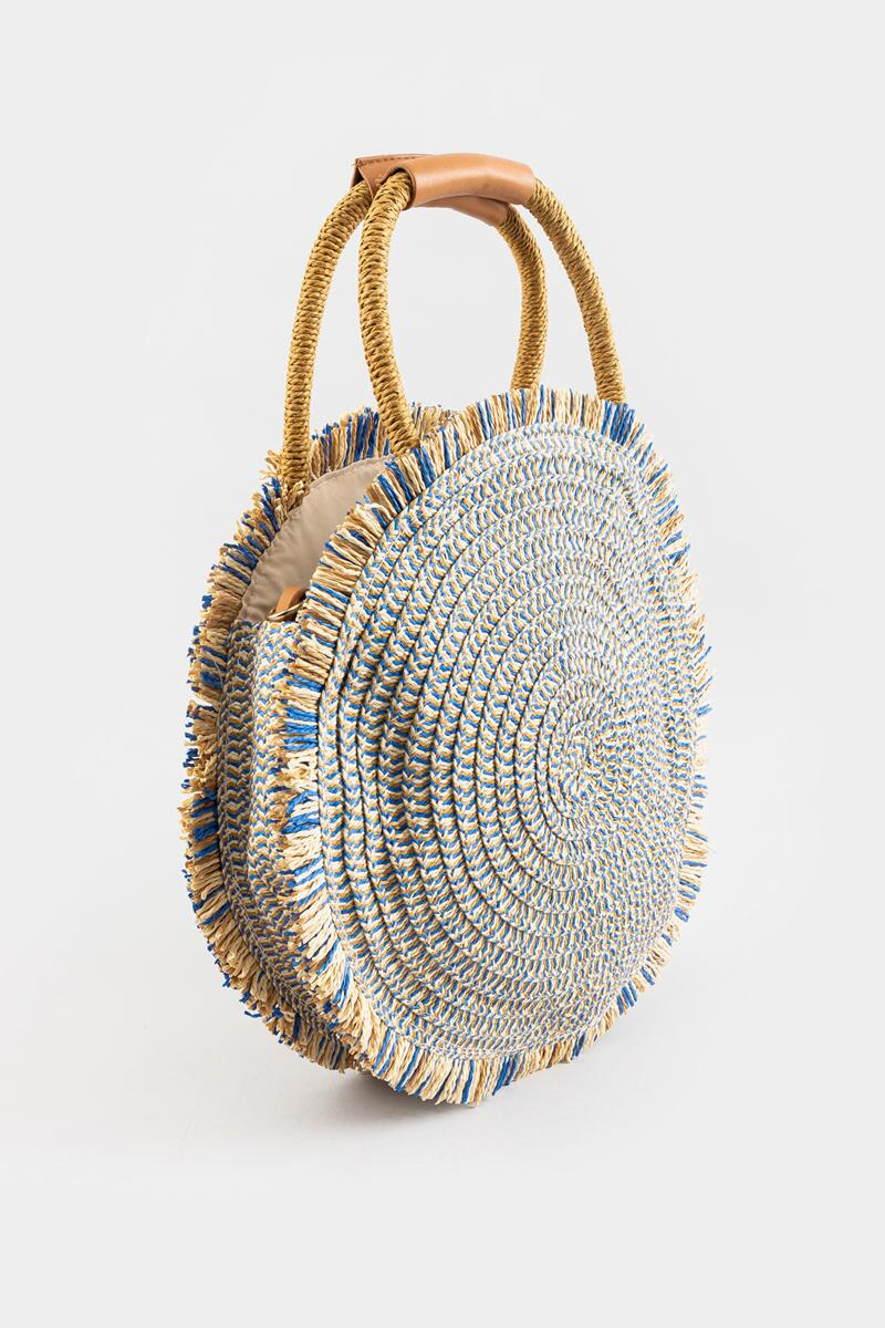 River Frayed Edge Straw Circular Tote-Blue 3