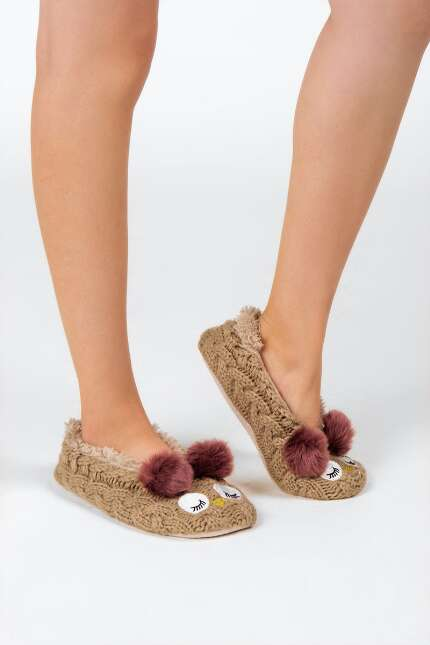 Fuzzy Knit Slipper Socks