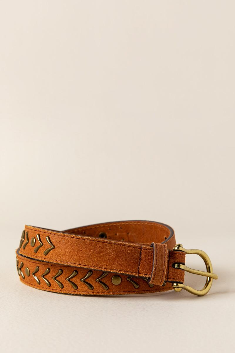 Myra Metal Leather Belt in Cognac