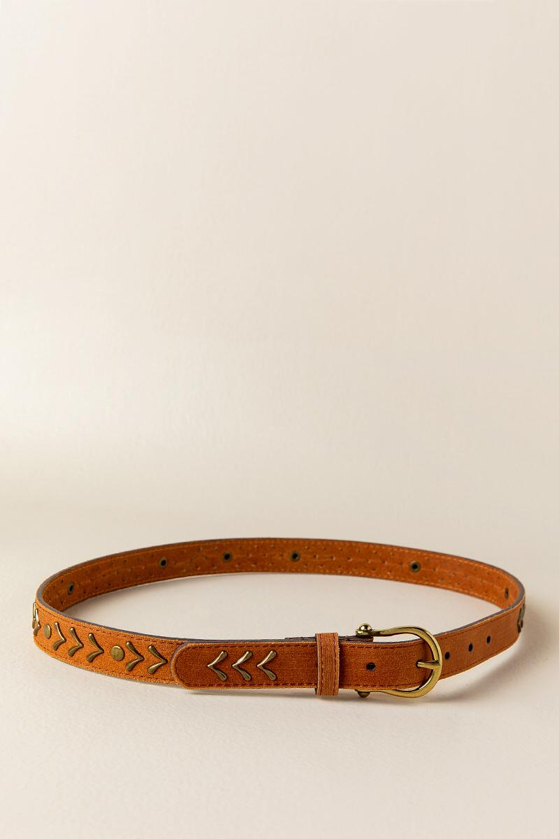 Myra Metal Leather Belt in Cognac-  cognc-clalternate