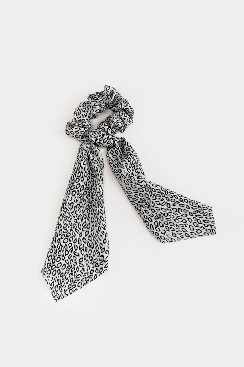 Evonna Abstract Leopard Pony Scarf- Gray