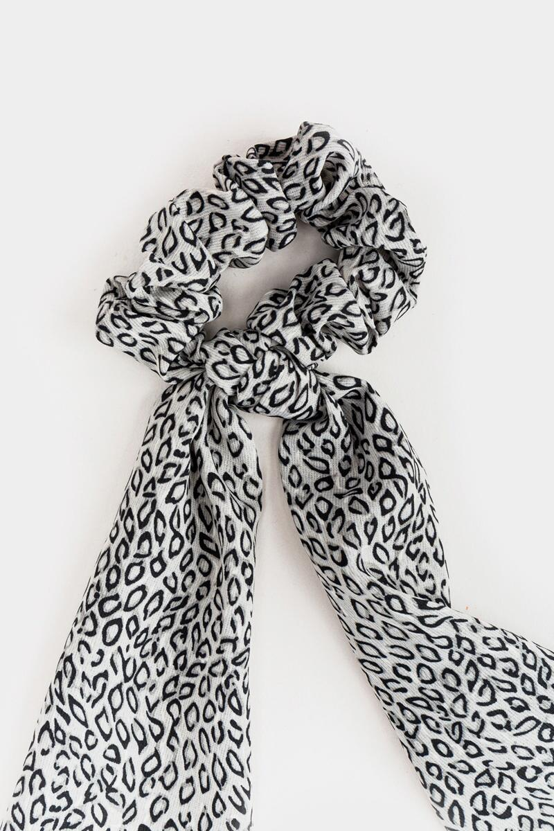 Evonna Abstract Leopard Pony Scarf- Gray 3