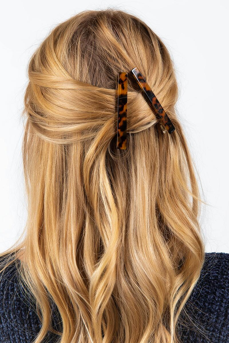 Addison Rectangle Tort Barrettes-  amber-cl2