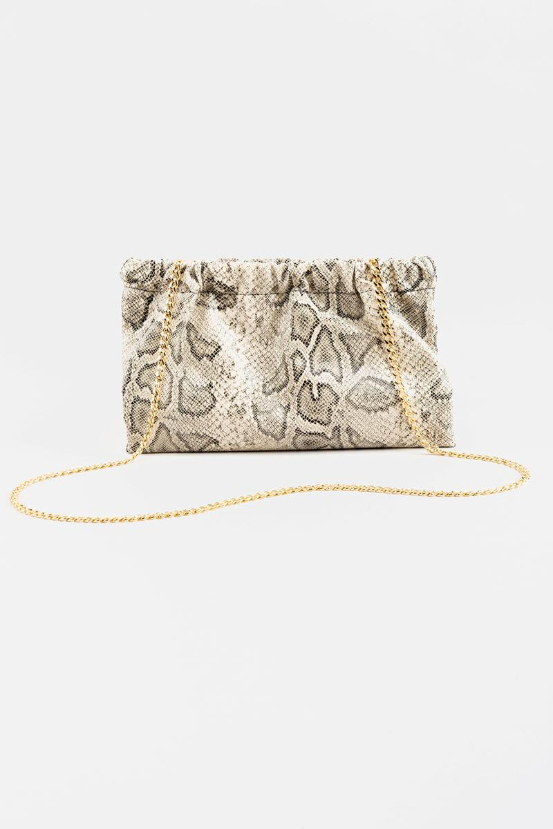 Amiee Ruched Snap Snake Clutch in Gray-  gray-cl