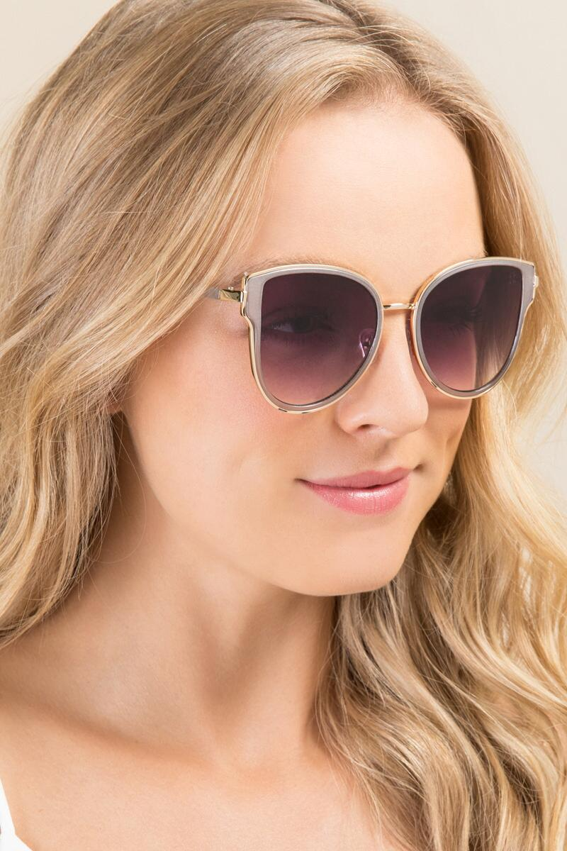 Allegro Cat Eye Sunglasses-  gold-clmodel