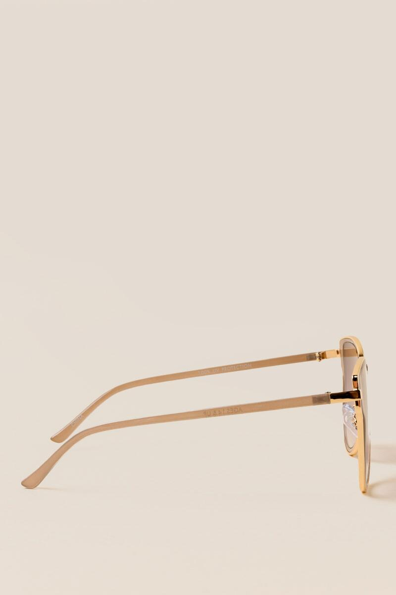 Allegro Cat Eye Sunglasses-  gold-clside