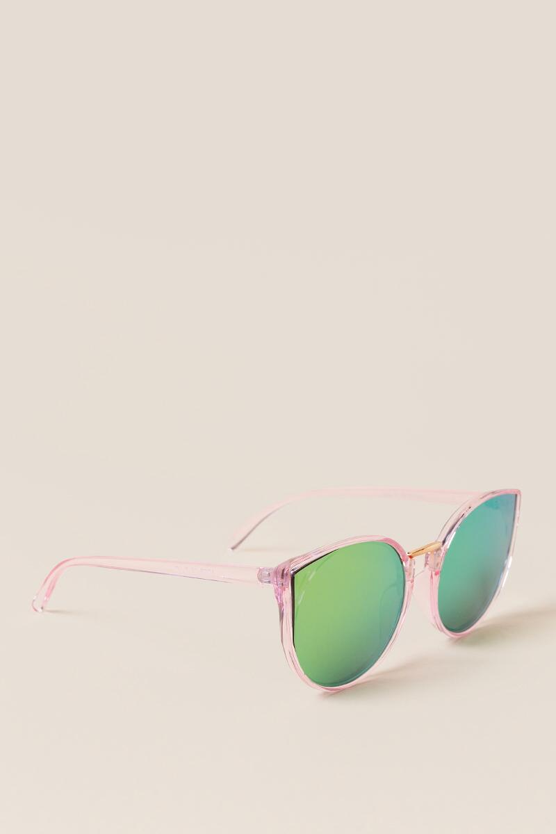 Brookline Mirrored Lenses Cat Eye in Pink- Blush