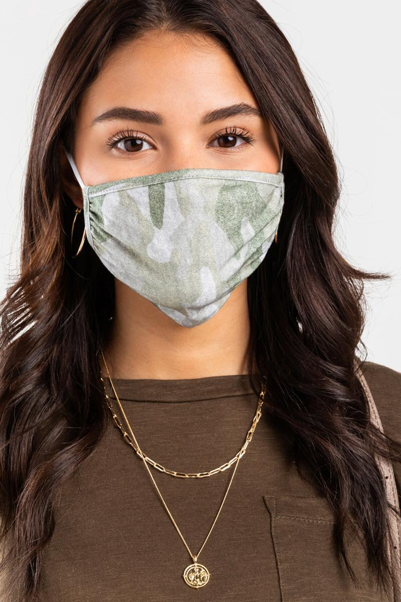 Tessa Camo Reusable Face Mask-Olive 2