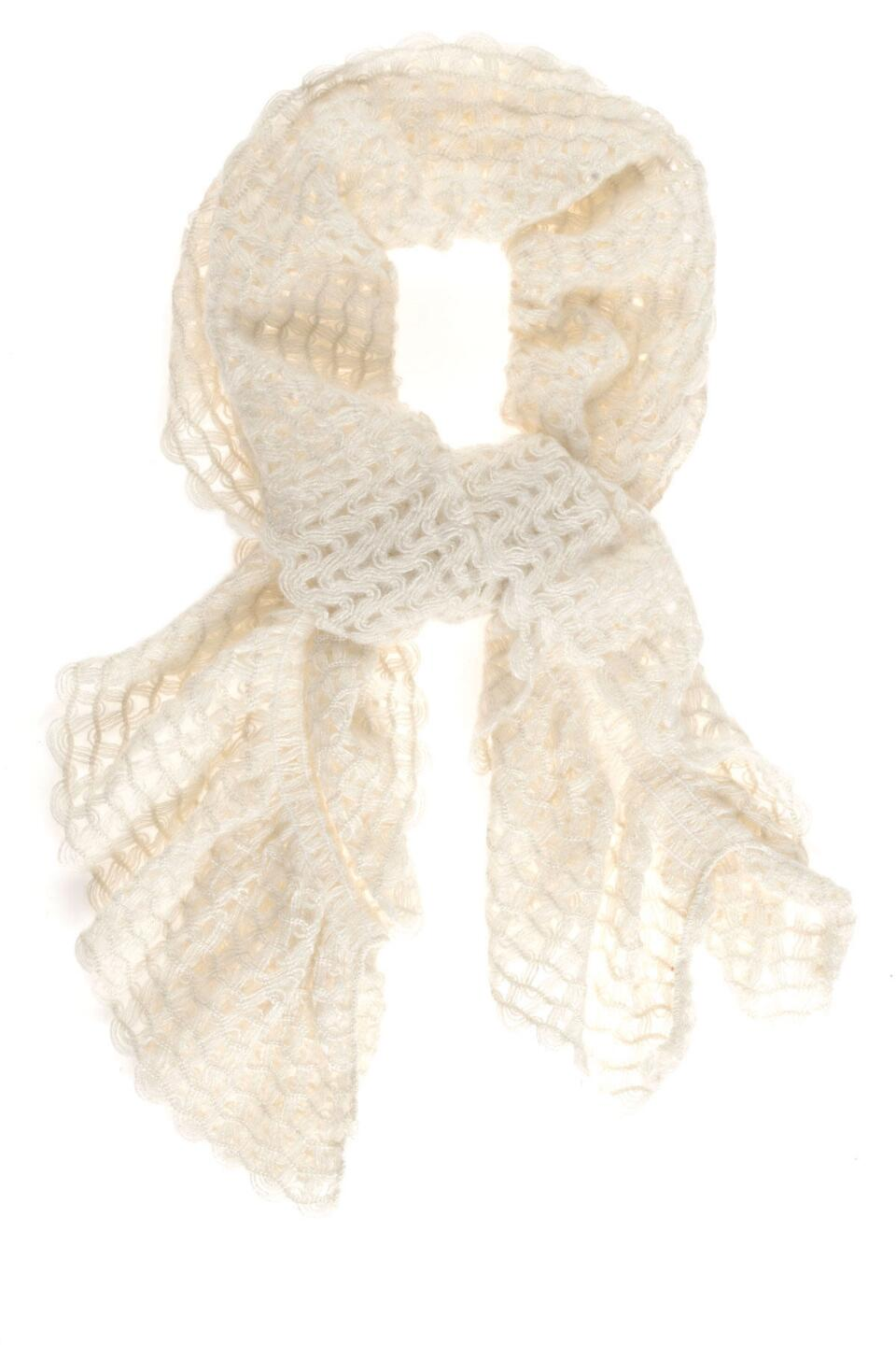 Dauphin Ruffle Scarf in Ivory-  ivry-cl