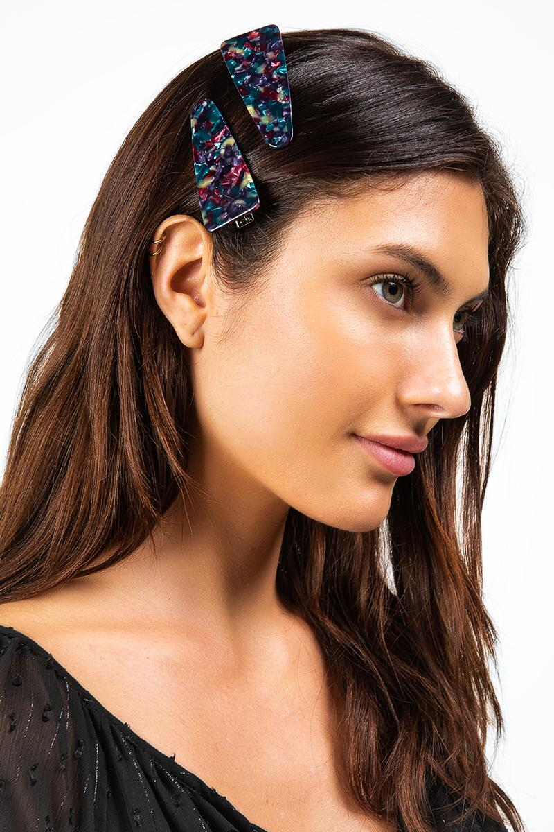 Kensie Triangular Hair Clip Set-  purp-cl2
