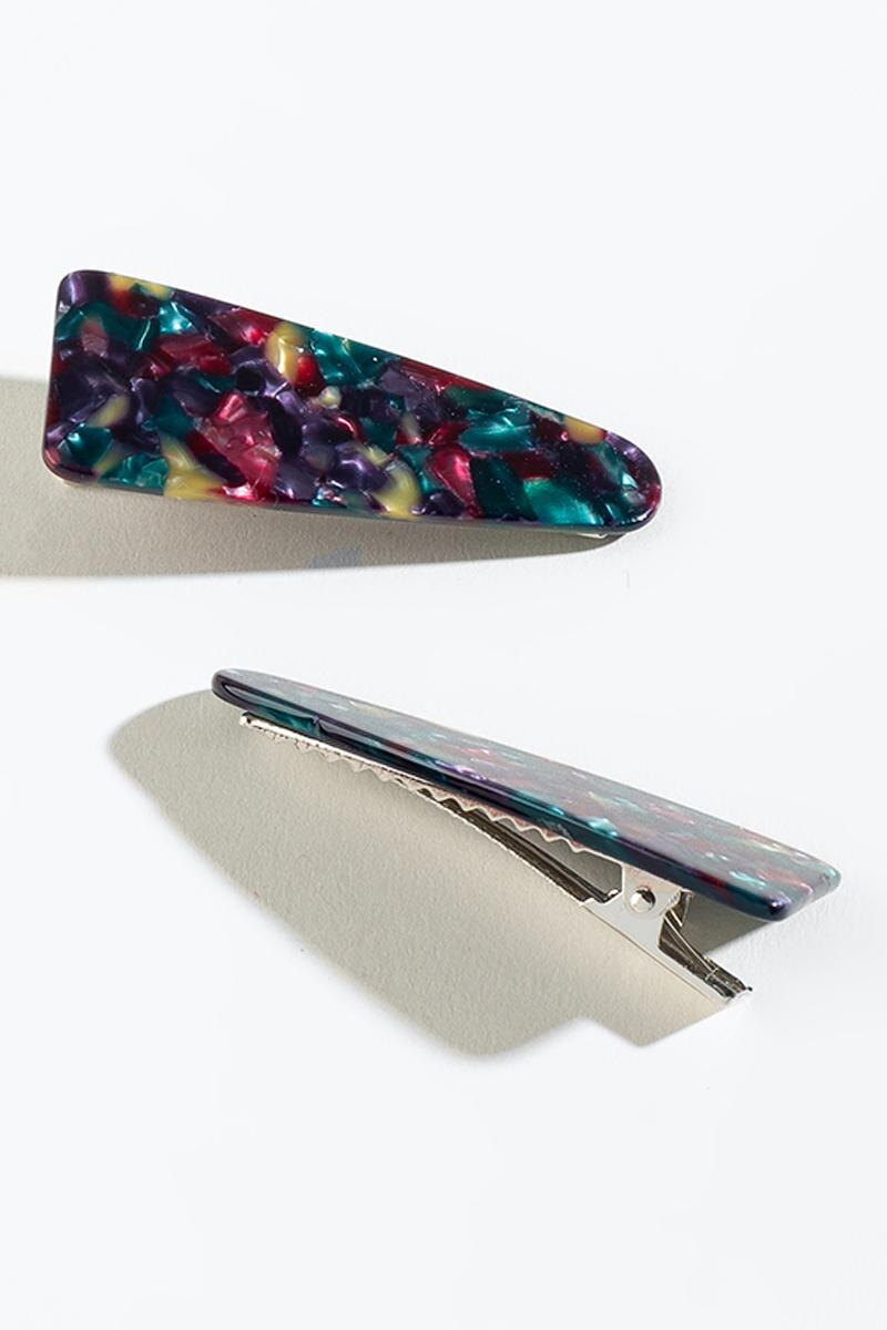 Kensie Triangular Hair Clip Set-  purp-cl3