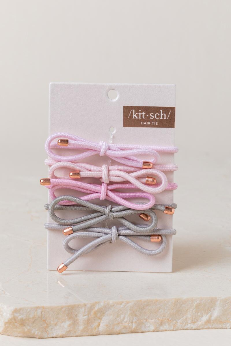Linette Bow Hair Ties in Pink