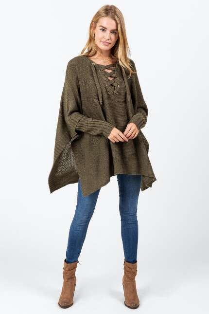 Ellie V Lattice Front Poncho