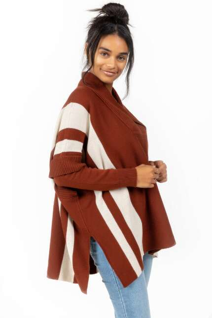 Kathy V Front Striped Poncho