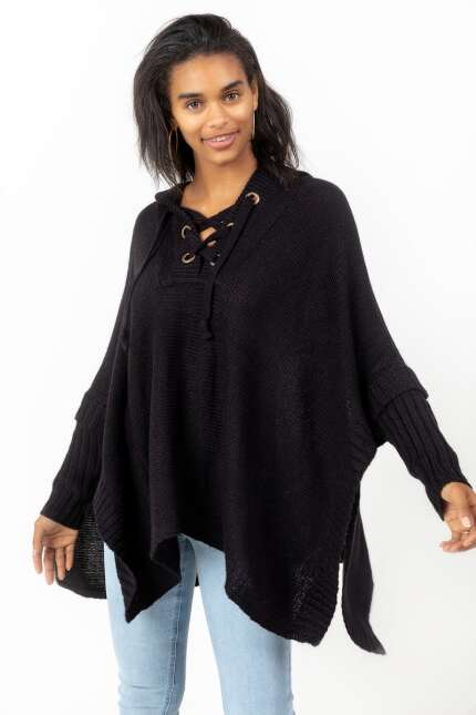 Gina Lattice Front Tie Poncho