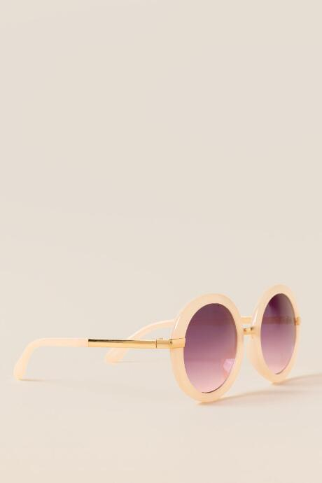 Globe Trotter Round Sunglasses in Nude