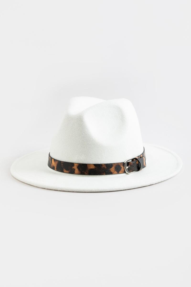 Earlisha Leopard Band Panama Hat in Ivory-  white-cl