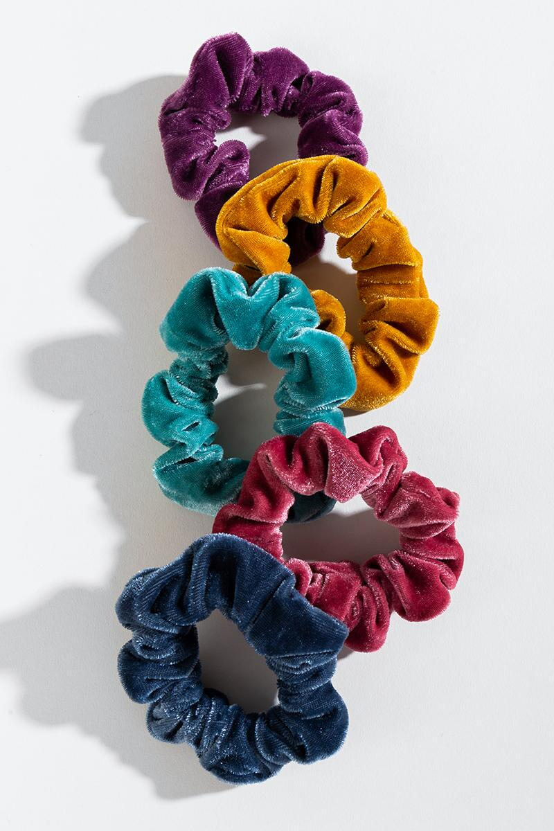 Caila Velvet Scrunchie Set- Multi mult-cl