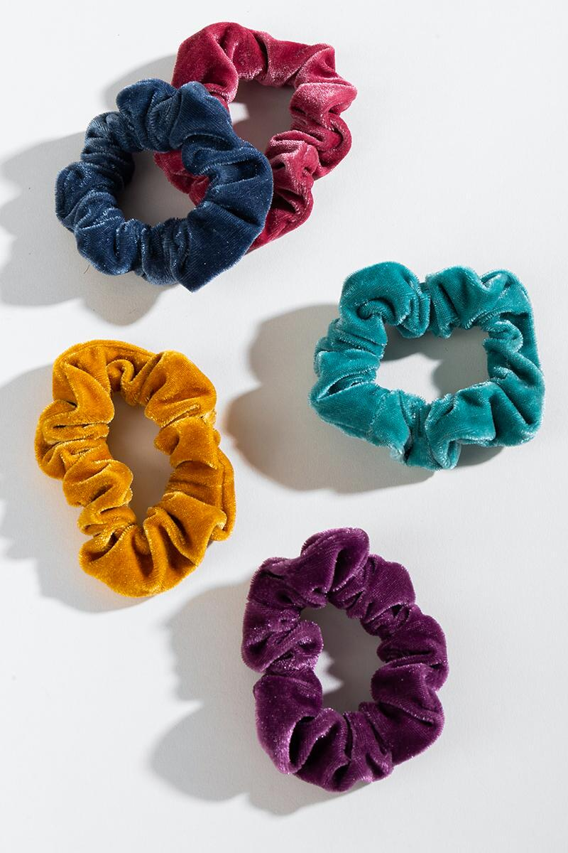Caila Velvet Scrunchie Set- Multi mult-cl3