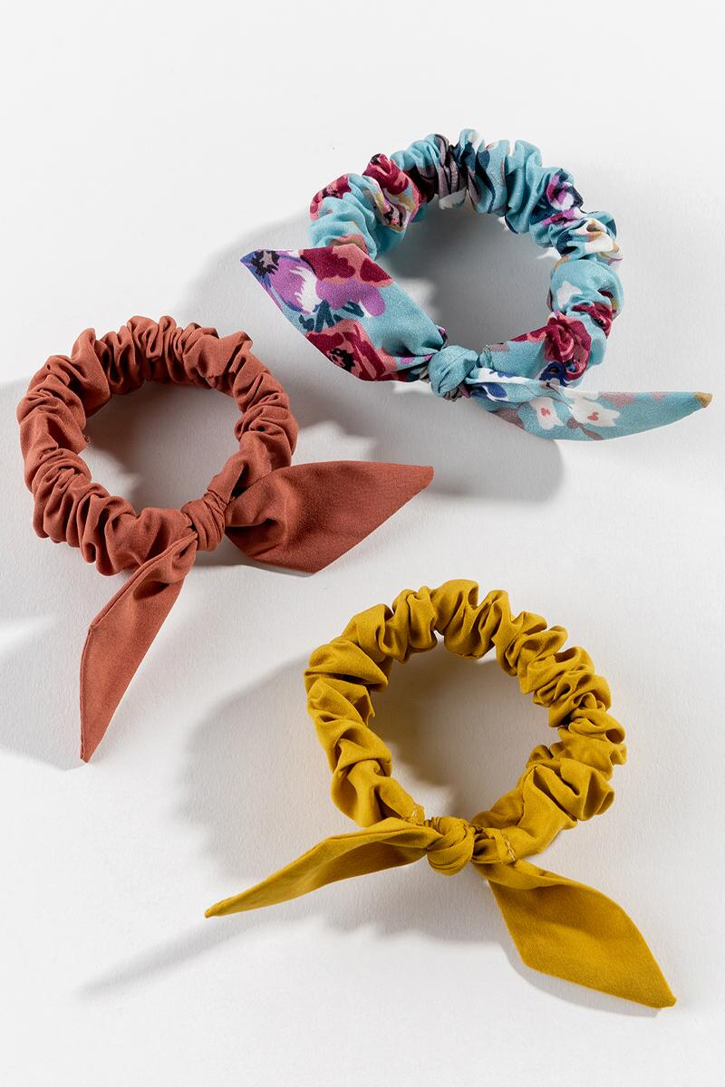 Sherry Bow Scrunchie Set- Marigold