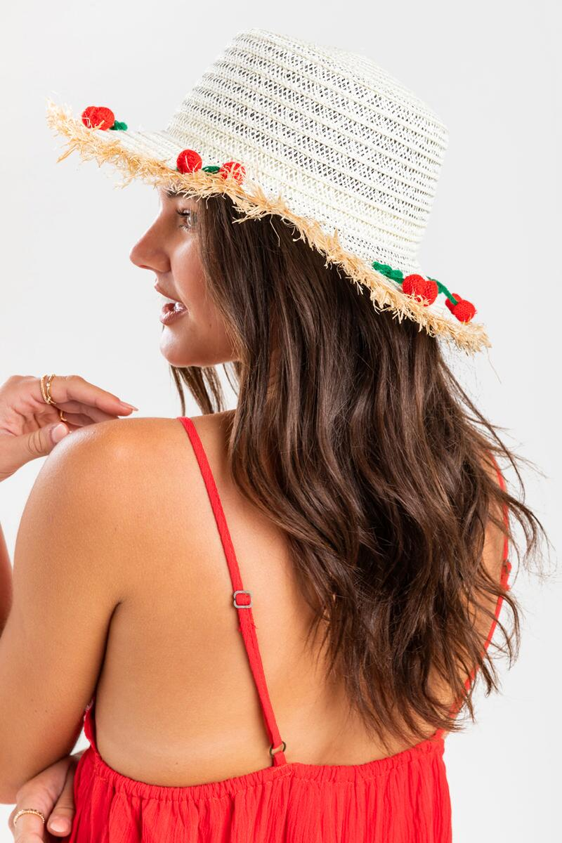 Kimora Cherry Pom Pom Panama Hat- Natural 2