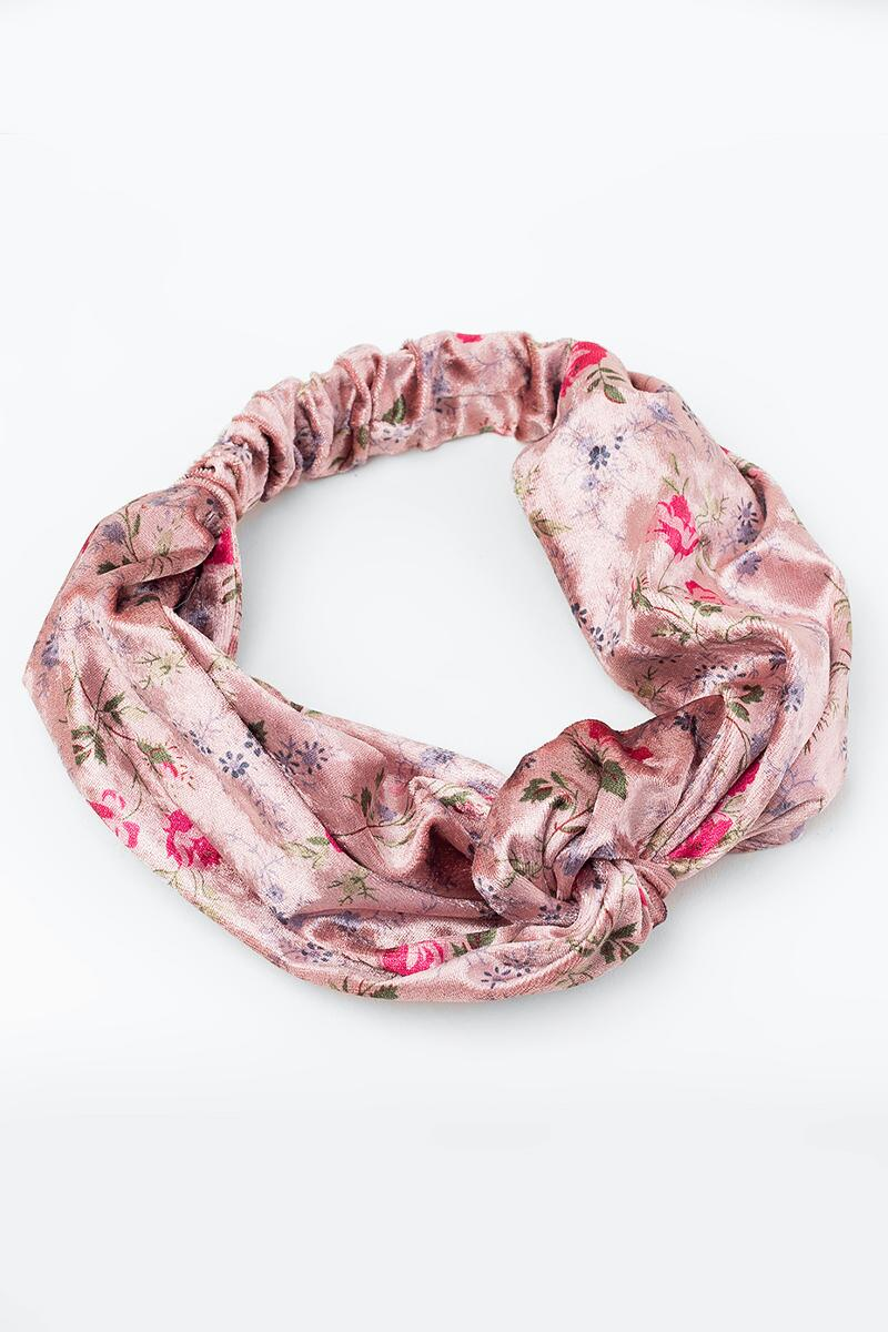 Sherry Crushed Velvet Floral Headwrap- Blush