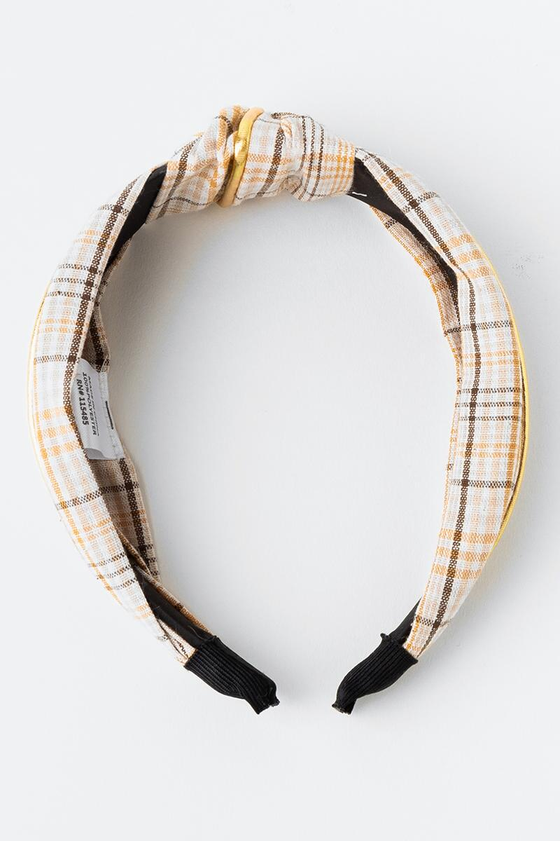 Karen Top Knot Plaid Headband-  ivry-cl