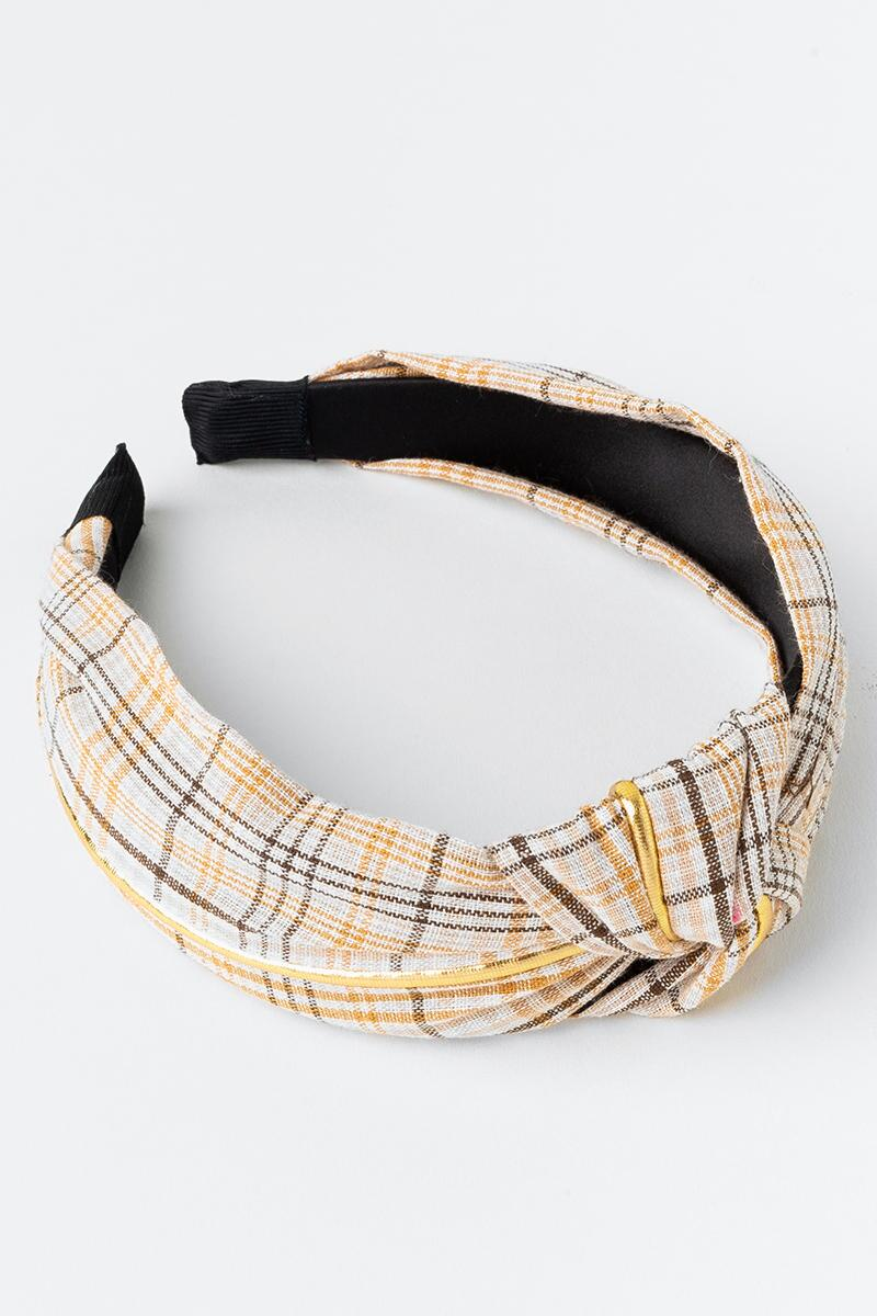 Karen Top Knot Plaid Headband-  ivry-cl3