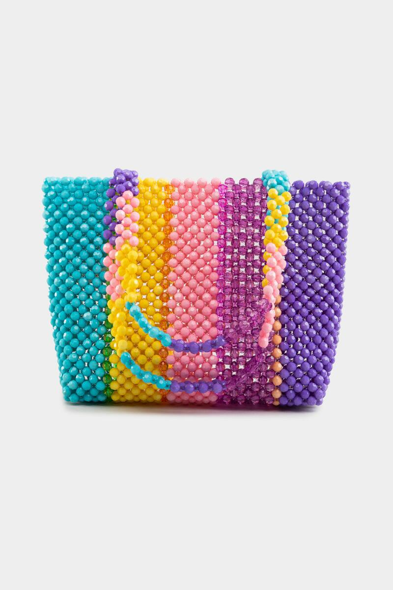 Adelynn Beaded Multi Stripe Tote