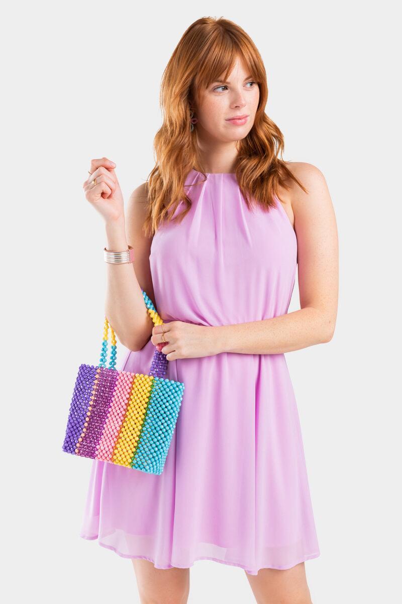 Adelynn Beaded Multi Stripe Tote-  mult-cl2