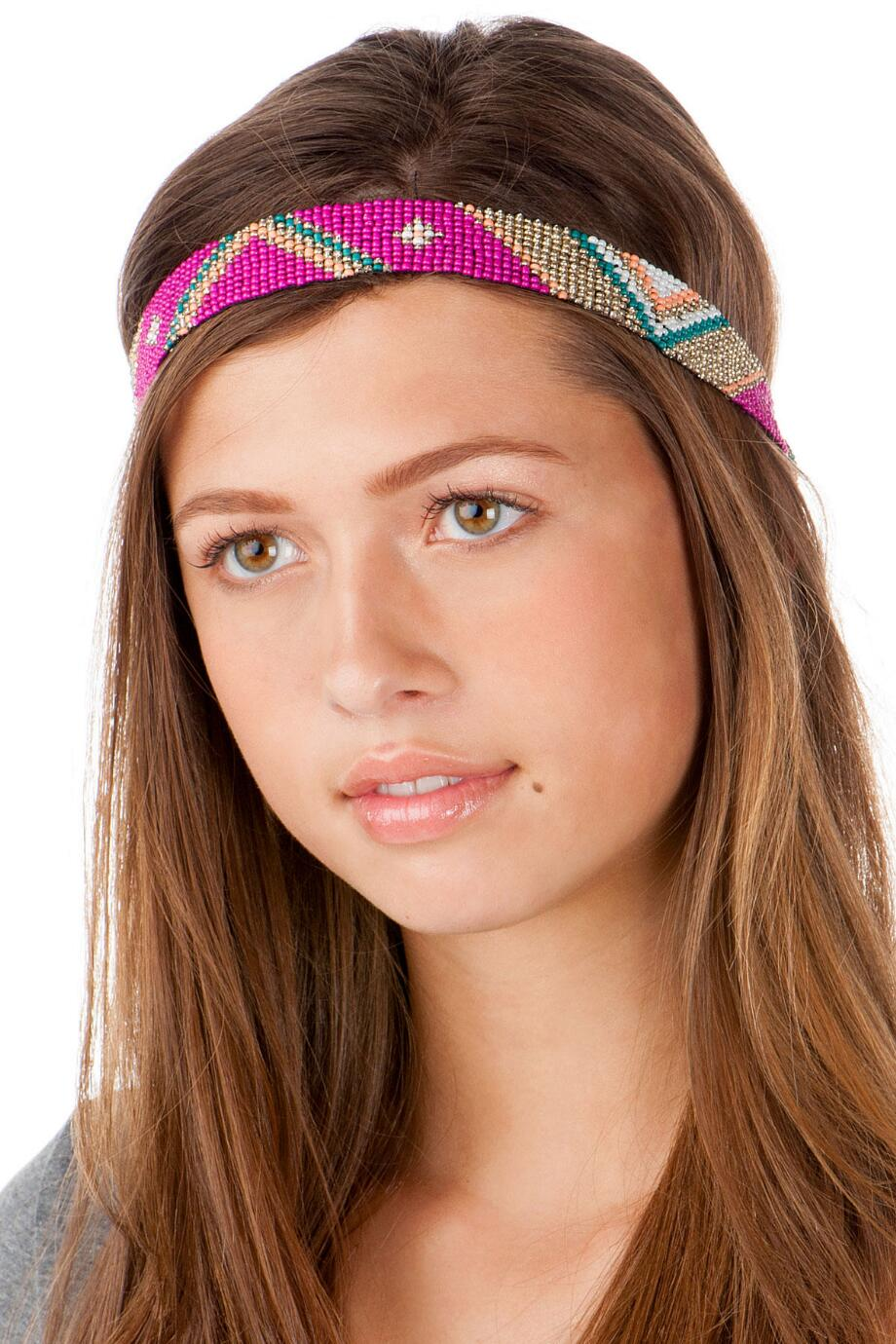 Mendoza Beaded Head Wrap in Pink