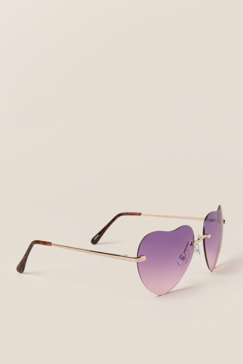 Ariela Heart Shaped Sunglasses-  purp-cl