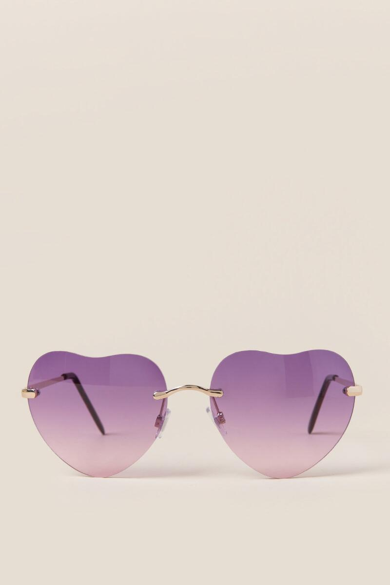 Ariela Heart Shaped Sunglasses-  purp-clfront