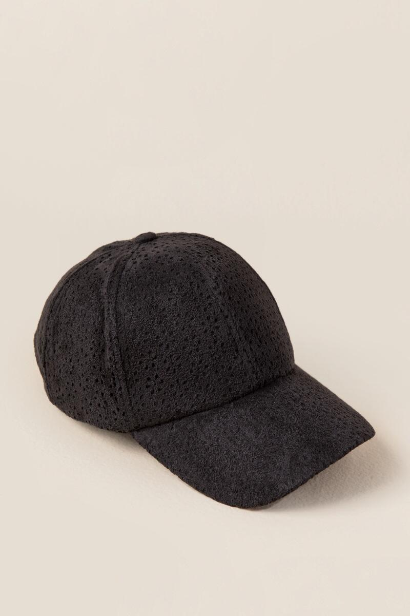 Ebony Floral Perforated Suede Baseball Cap