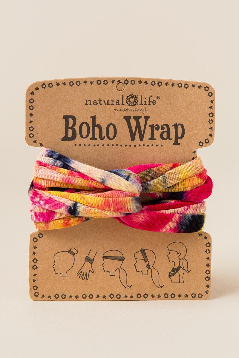 Boho Wrap by Natural Life® in Orange Tie Dye-  pink-cl