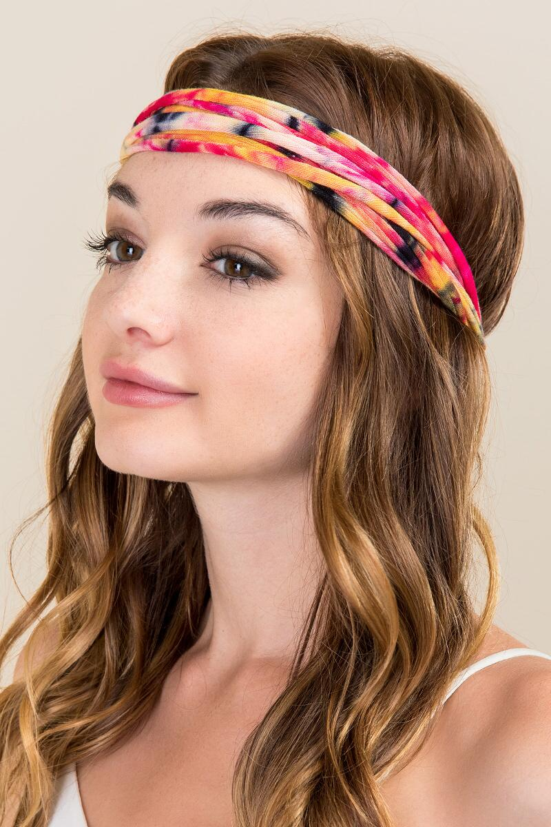 Boho Wrap by Natural Life® in Orange Tie Dye-  pink-clmodel
