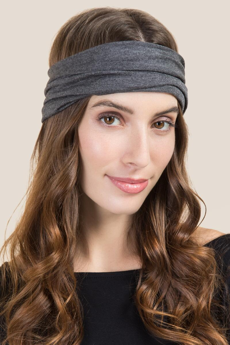 Half Boho Bandeau in Dark Gray- Dark Grey model