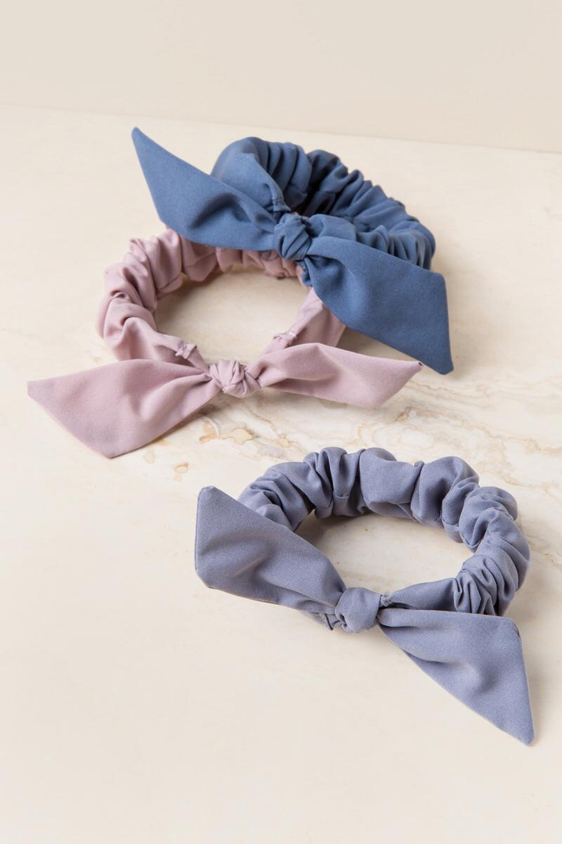 Electa 3 Pack Solid Bow Hair Ties-  mauv-cl