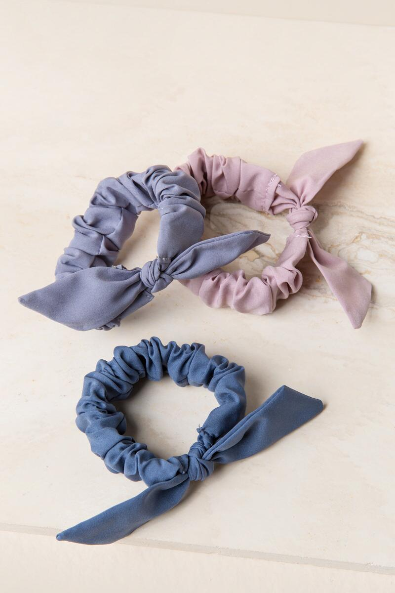 Electa 3 Pack Solid Bow Hair Ties-  mauv-clalternate