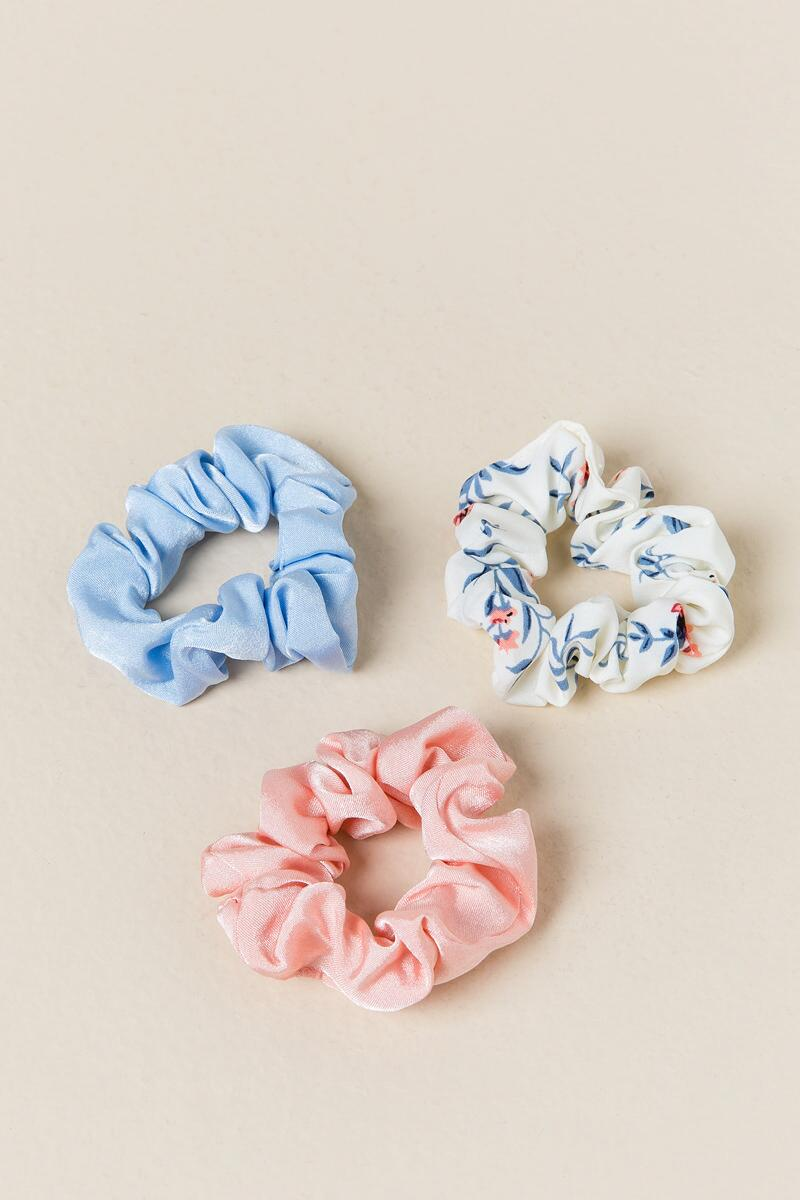 Catorina 3 Pack Floral Scrunchie Hair Ties-  ivry-cl