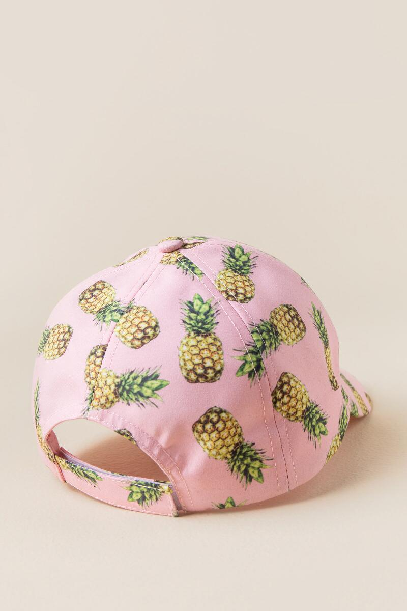 Costa Rica Pineapple Baseball Cap-  pink-clback
