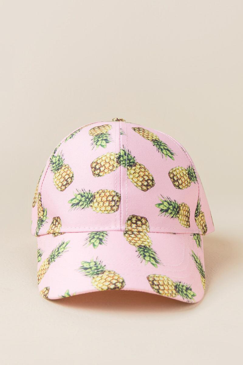 Costa Rica Pineapple Baseball Cap-  pink-clfront