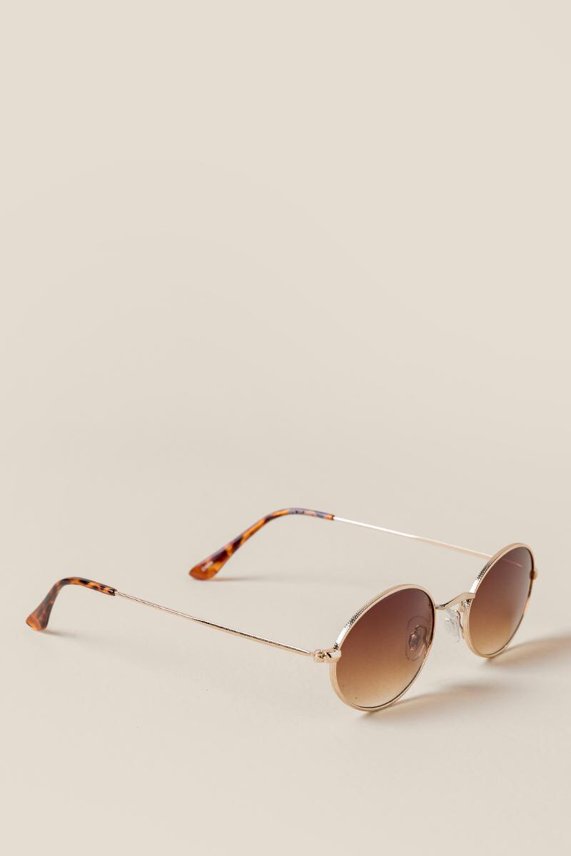 Phoebe Small Oval Frame Sunglasses-  brwn-cl