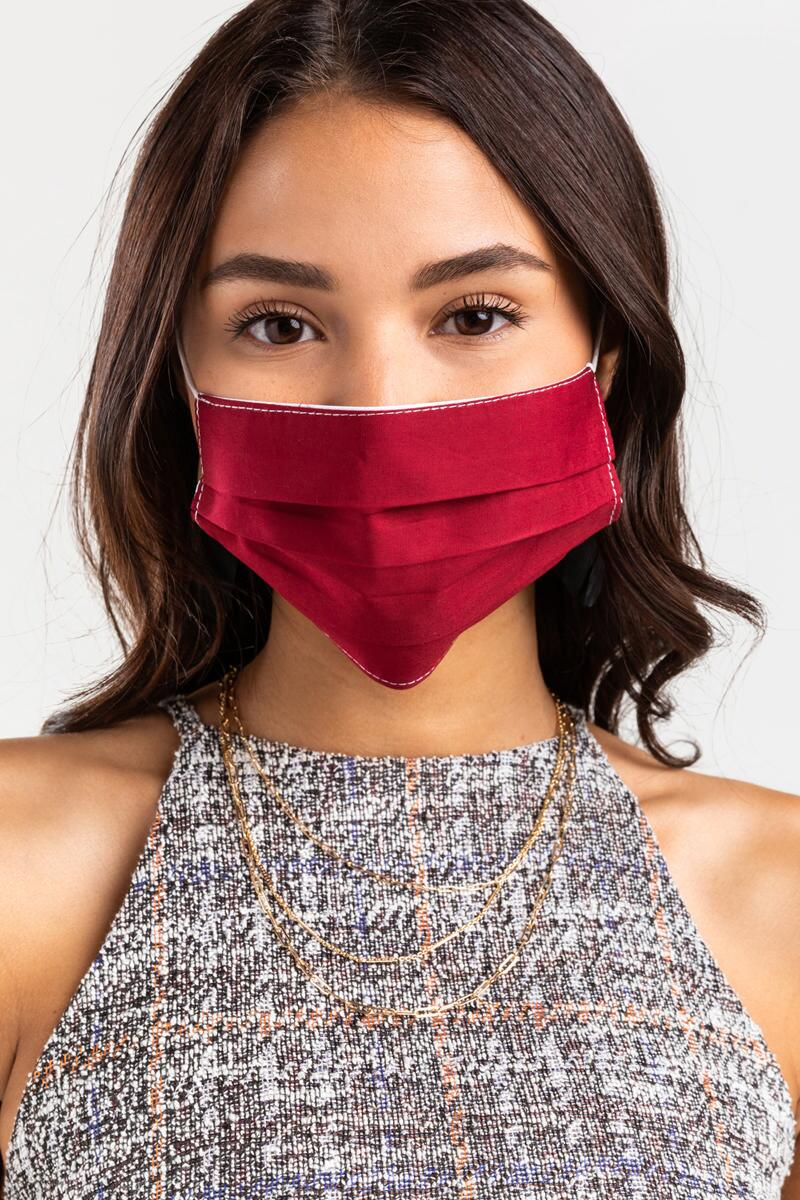 Jane Solid Reusable Face Mask- Burgundy 2